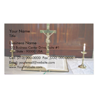 Religous Altar with Bible, Cross and Candles Double-Sided Standard Business Cards (Pack Of 100)