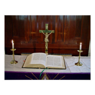 Religous Altar with Bible, Cross and Candles Print