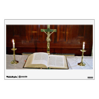 Religous Altar with Bible Cross and Candles Wall Decals