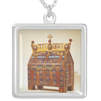 Reliquary chest, 12th-13th century silver plated necklace