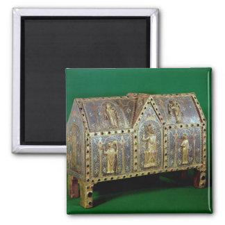 Reliquary chest of St. Calminius, Limoges 2 Inch Square Magnet