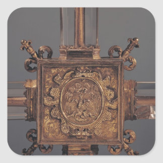 Reliquary cross, detail of a phoenix square sticker