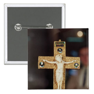 Reliquary crucifix, ivory Christ on gold cross Button