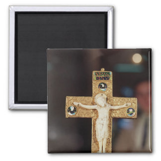 Reliquary crucifix, ivory Christ on gold cross Magnet