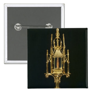 Reliquary Monstrance with piece of cross 2 Inch Square Button