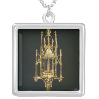 Reliquary Monstrance with piece of cross Silver Plated Necklace