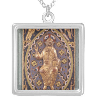 Reliquary plaque depicting Christ Square Pendant Necklace