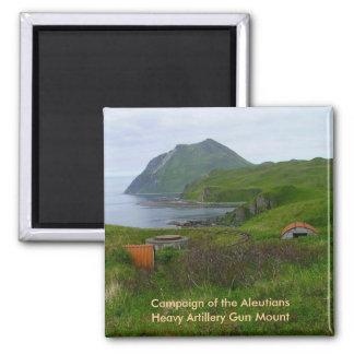 Reliquias de WWII en la isla de Unalaska Imán Cuadrado