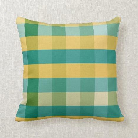 Relish the Mustard Plaid Throw Pillow