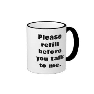 Rellene por favor antes de que usted hable conmigo taza a dos colores