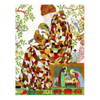 Relleno de medias del navidad tarjeta postal