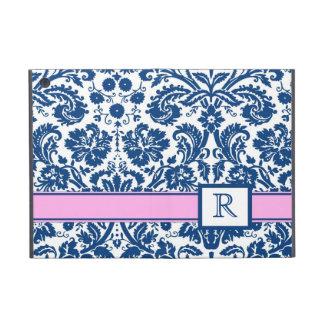 relleno el damasco floral rosado azul del monogram iPad mini cárcasas