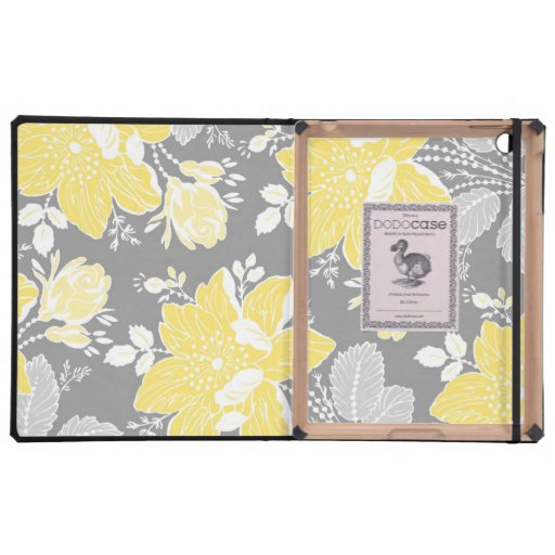 relleno el estampado de flores del gris del limón iPad cobertura