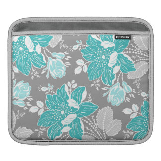 relleno el estampado de flores del gris del trullo mangas de iPad