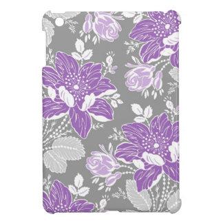 relleno el mini estampado de flores gris púrpura iPad mini coberturas