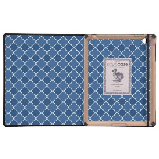 relleno el modelo azul de Quatrefoil iPad Fundas