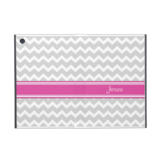 relleno nombre gris del personalizado de Chevron d iPad Mini Funda