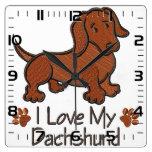 """Relógio """"I love my dachshund"""" Reloj Cuadrado"""