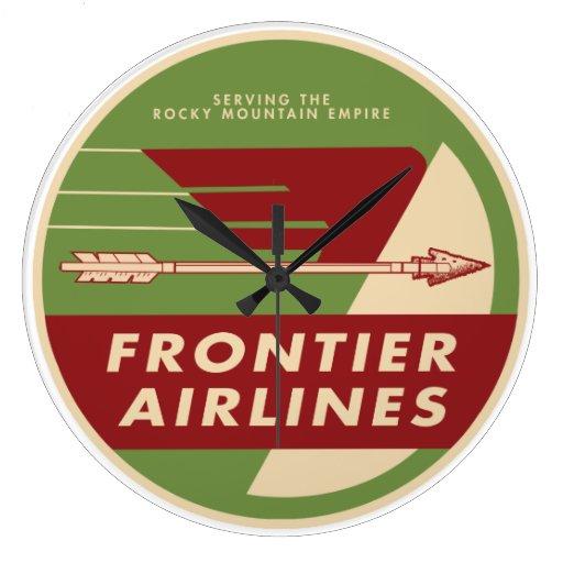 Reloj 1946 de pared de Frontier Airlines del vinta