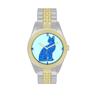 Reloj abstracto azul del amante del mascota del ar