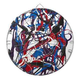 Reloj abstracto azul, rojo, negro, blanco. Moderno