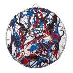Reloj abstracto azul, rojo, negro, blanco. Moderno Tablero Dardos