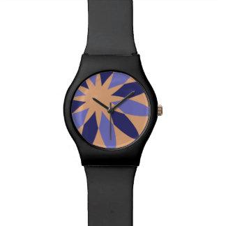 Reloj abstracto de la flor del naranja y de la
