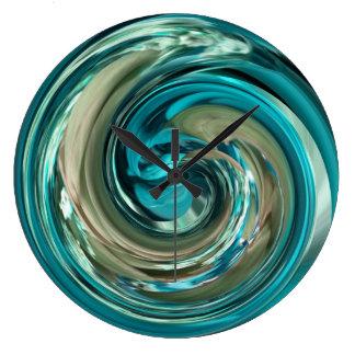Reloj abstracto del remolino del delfín del oro de