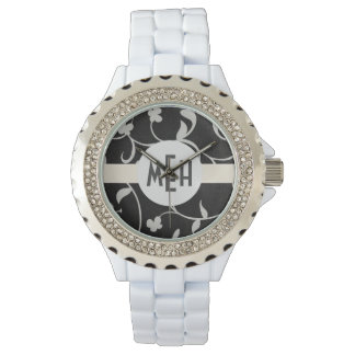 Reloj abstracto floral blanco negro del monograma