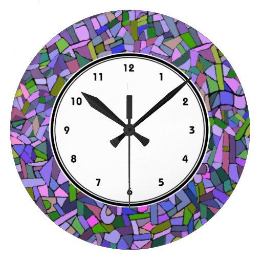 Reloj abstracto rosado púrpura del modelo de mosai