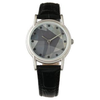 Reloj abstracto sofisticado con la banda negra