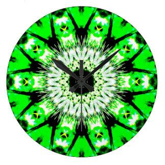 Reloj abstracto verde de neón del modelo del cardo