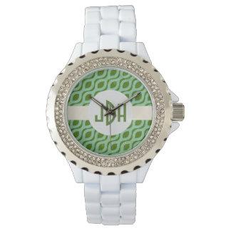 Reloj abstracto verde del monograma del modelo
