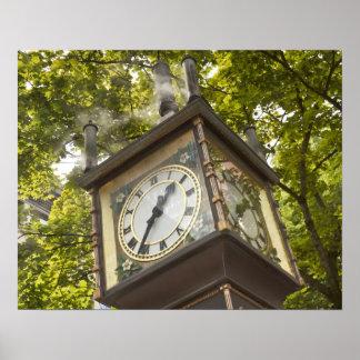 Reloj accionado vapor en la vecindad de Gastown Póster