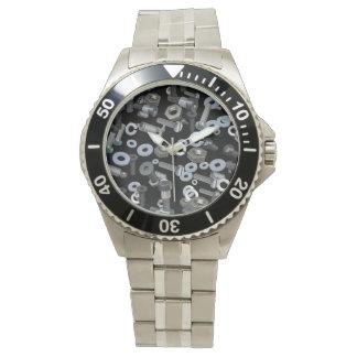 Reloj - acero inoxidable clásico - nueces - y -