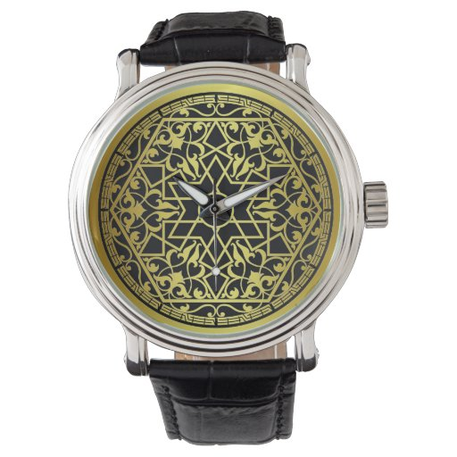 Reloj afiligranado del oro geométrico
