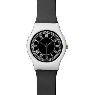 Reloj ajustable negro y blanco del número romano