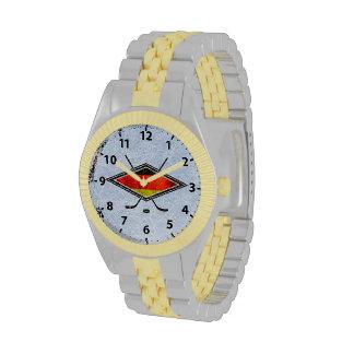 Reloj alemán Eishockey Deutsch del logotipo del ho