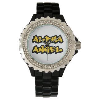 Reloj alfa del diamante artificial del negro del