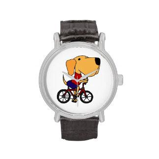 Reloj amarillo de la bicicleta del montar a caball