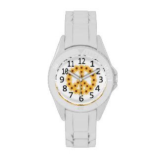 Reloj amarillo del número del signo de la paz de