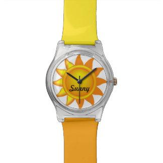 Reloj amarillo-naranja personalizado del nombre de
