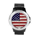 Reloj americana de la bandera americana