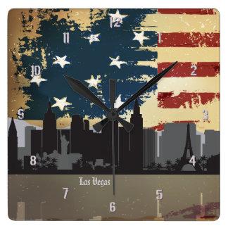 Reloj americano del paisaje urbano de las ciudades