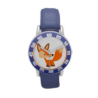 Reloj amistoso lindo del Fox del dibujo animado