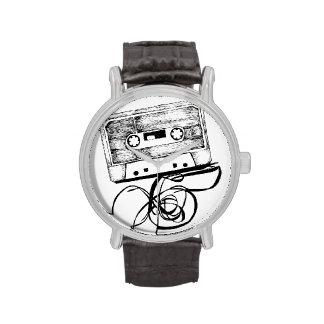 Reloj análogo del casete de cinta de Auido