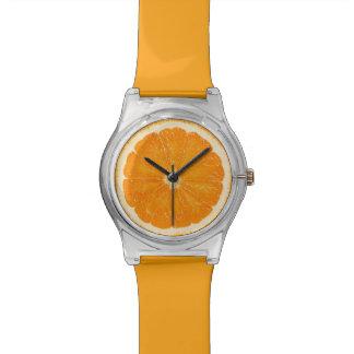 Reloj anaranjado de la fruta cítrica
