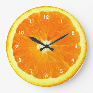 Reloj anaranjado de la fruta con números