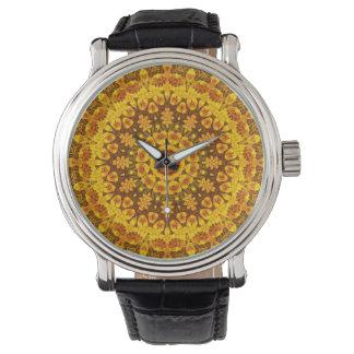 Reloj anaranjado de la mandala del mecanismo