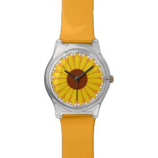 Reloj anaranjado y amarillo de la flor de la